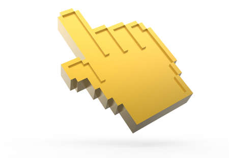 golden pixel hand showing thumbs icon photo