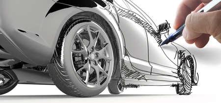 Hand zeichnen ein Modellauto auf weißem Hintergrund