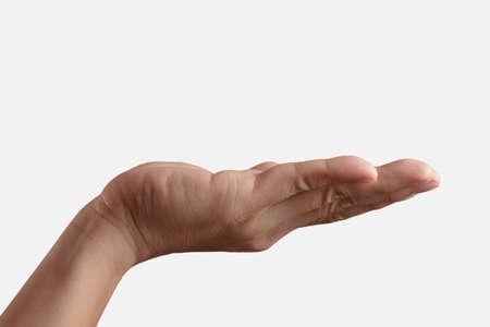 manos limpias: Mano vacía hombre abierto sobre fondo blanco
