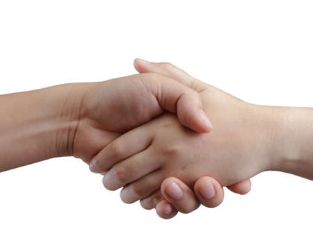 Shaking hands  people, isolated on white Stock Photo - 14530081