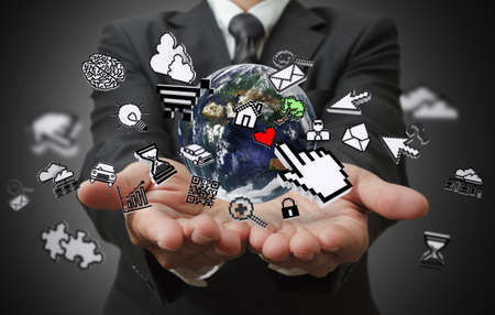 business man hands show internet concept Elemen ts of this image furnished by NASA  photo
