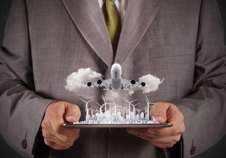 dioxido de carbono: negocio de éxito del hombre con el concepto de negocio verde