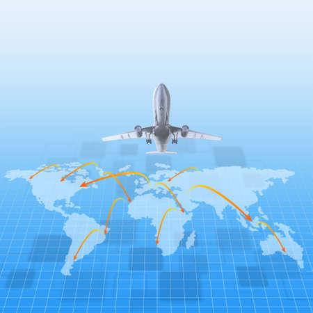 avión alrededor del mundo como concepto Foto de archivo