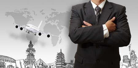 international network: success businessman and the dream travel around the world