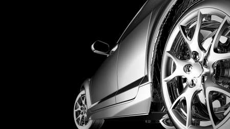 car tire: stylish car model on black Stock Photo