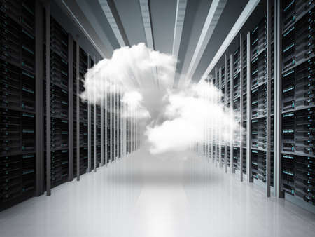 cloud storage: cloud network and server room as concept
