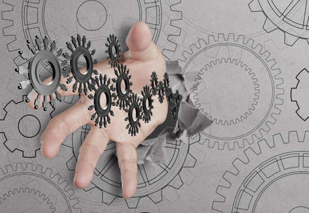hand reach people cogs as concept Stock Photo - 14731765