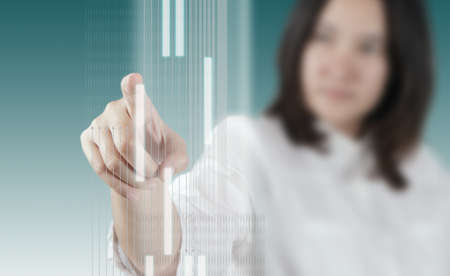 woman hand working on virtual technology interface as concept photo