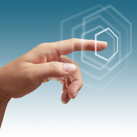 male hand working on touch screen interface as concept Stock Photo - 14731713