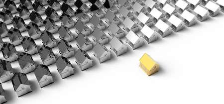 Golden house. Concept leadership on white photo
