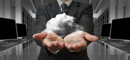 virtual world: Businessman  and the cloud computing concept and business network