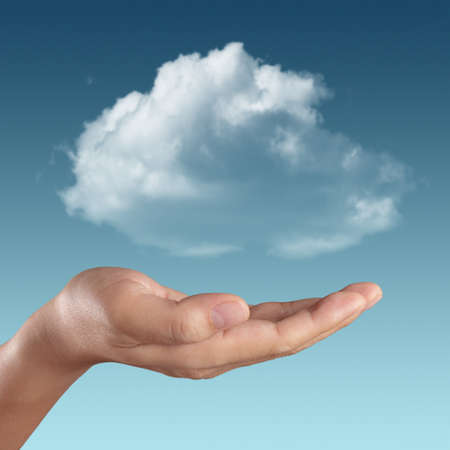 hands solution: Cloud computing concept with copy space