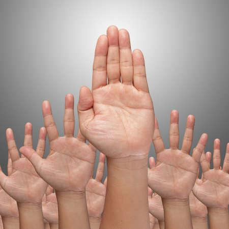 lift hands: Muchas Manos elevar en lo alto de fondo blanco