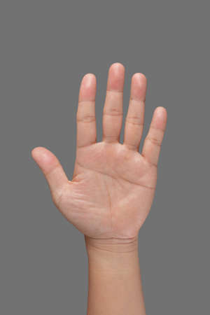 five fingers: Open hand showing all five fingers. Background Stock Photo