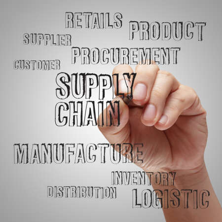 business man writing supply chain management concept by flow from supplier to customer Stock Photo - 14774864