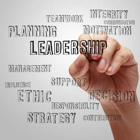 contribution: businessman writing leadership skill concept