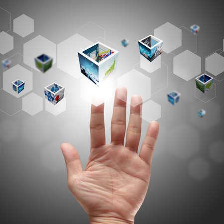 hightech: businessman hand pushing on a touch screen interface