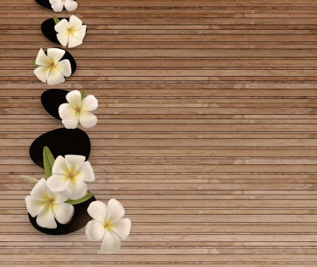 Frangipani flowers as wood background Stock Photo