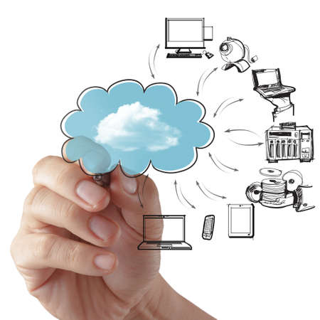 internet cloud: Businessman drawing a Cloud Computing diagram on the whiteboard Stock Photo