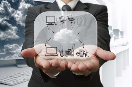 cloud shape: Businessman show cloud network on glass board Stock Photo