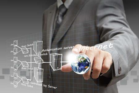 Homme d'affaires à la main indique le tableau des systèmes Internet