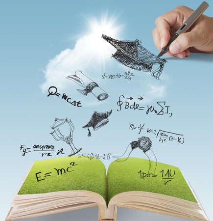 gorros de graduacion: libro abierto de la mano dibujada celebración de la graduación