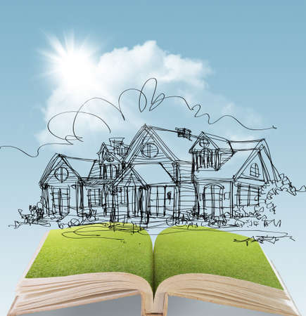 open book of a dream house with sunlight blue sky green grass Stock Photo - 15064808