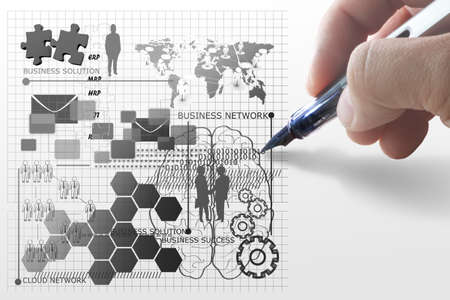 hand draws business network concept Stock Photo - 15064747
