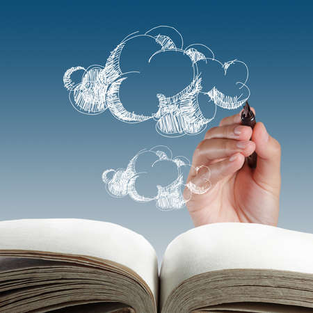 cloud shape: open book of hand drawing cloud network Stock Photo