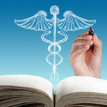 medical drawing: abstract white caduceus sign