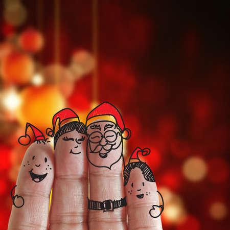fingers: Dedos Familia y fondo de la Navidad