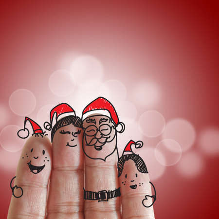fingers: Fingers Family and christmas background  Stock Photo