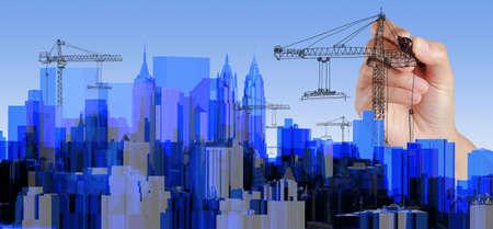 panorama city panorama: Dibujo a mano alzada City Blue radiograf�a transparente rendido Foto de archivo