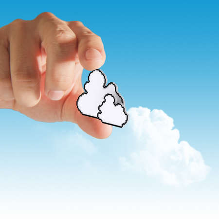 businessman hand with cloud computing concep photo