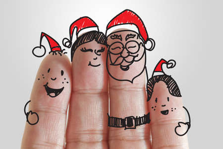 Fingers Family and christmas background Stock Photo - 15069978