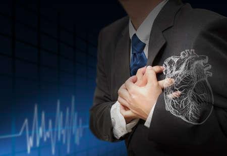 dolor de pecho: Ataque al coraz�n y el coraz�n late fondo cardiograma Foto de archivo