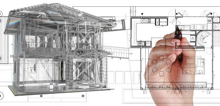 architect office: illustration of house model on blue print