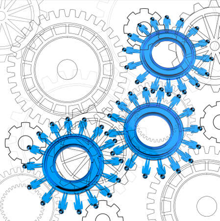 blue glass people cogs as concept Stock Photo - 15069967