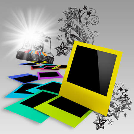 photo paper: blank colorful photo frames on doodle background