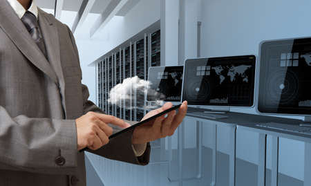 computer writing: people drawing cloud network server Stock Photo