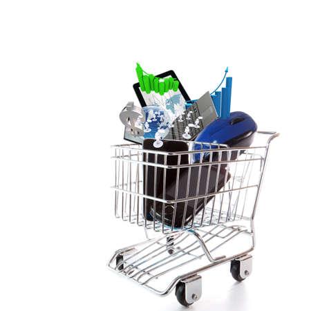 Las compras en línea en el concepto de fondo blanco