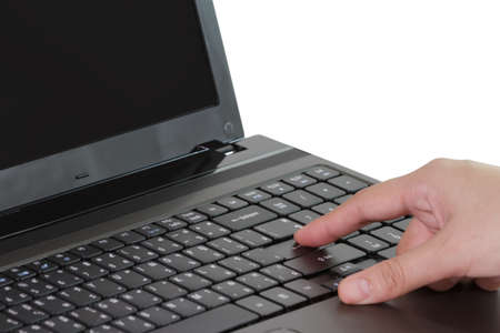 Closeup of business woman typing on laptop keyboard photo