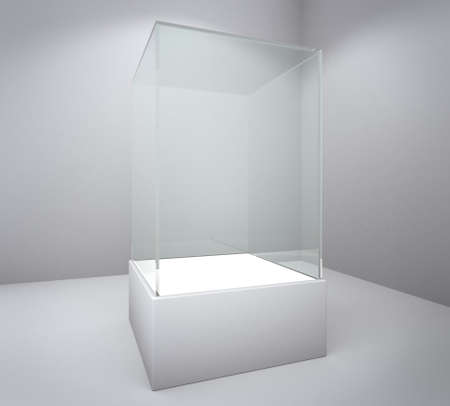 Empty glass showcase, 3d exhibition space Stock Photo - 16061474