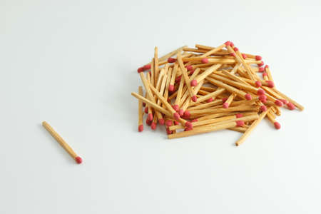A lot of matches on white isolated background photo