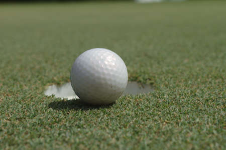 Golf ball on green tee photo