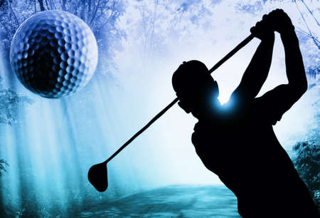 sports form: Golf ball on green tee Stock Photo