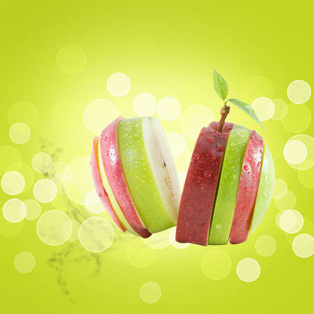 Different colors sliced apple isolated on white photo