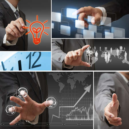 Young stylish businessman touching virtual interface button Stock Photo - 16064073