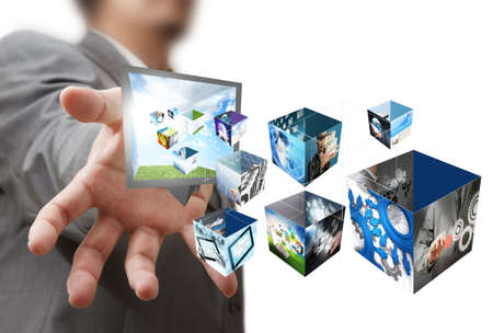 knowledge: Gesch�ftsmann zeigen eine kreative Box mit 3 d Streaming-Bilder Lizenzfreie Bilder