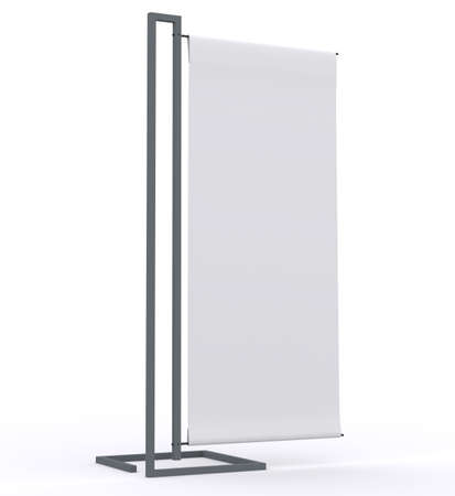 blank banner display new design aluminum frame template for design work,isolate on white background photo